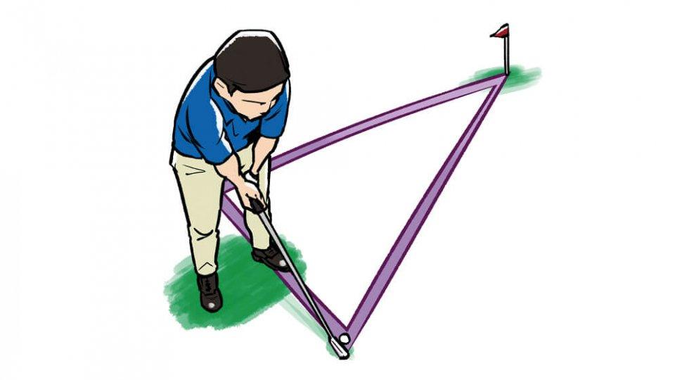 腰で狙うイメージを出すために まず、アドレスの際、左腰でボールと目標を均等に意識する。そして左のお尻を少し目標に向け、左腰とボールと目標を結んだ三角形を鮮明にイメージするといい