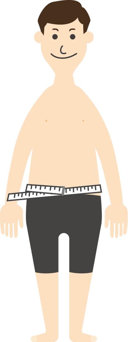 腹囲の測定方法 1)両腕を体の横に自然に下ろして立ち、リラックスして軽く息を吐く。おなかを無理にへこませないこと。 2)へその位置から水平にメジャーを当てて測定する。