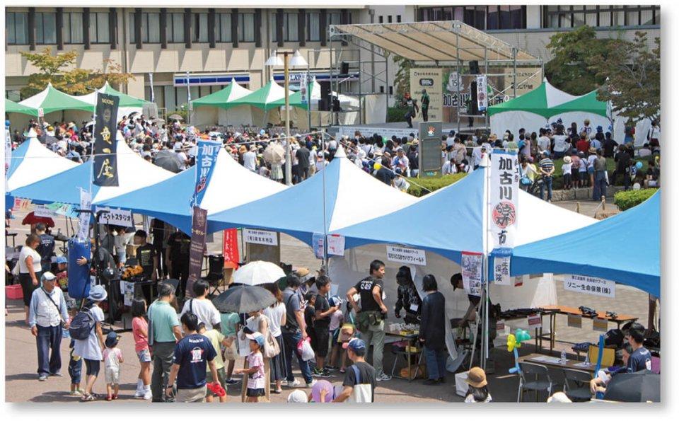 商工祭「加古川楽市」:毎年9月に開催。飲食・物販ブースが並び大勢の家族連れでにぎわう大規模イベント