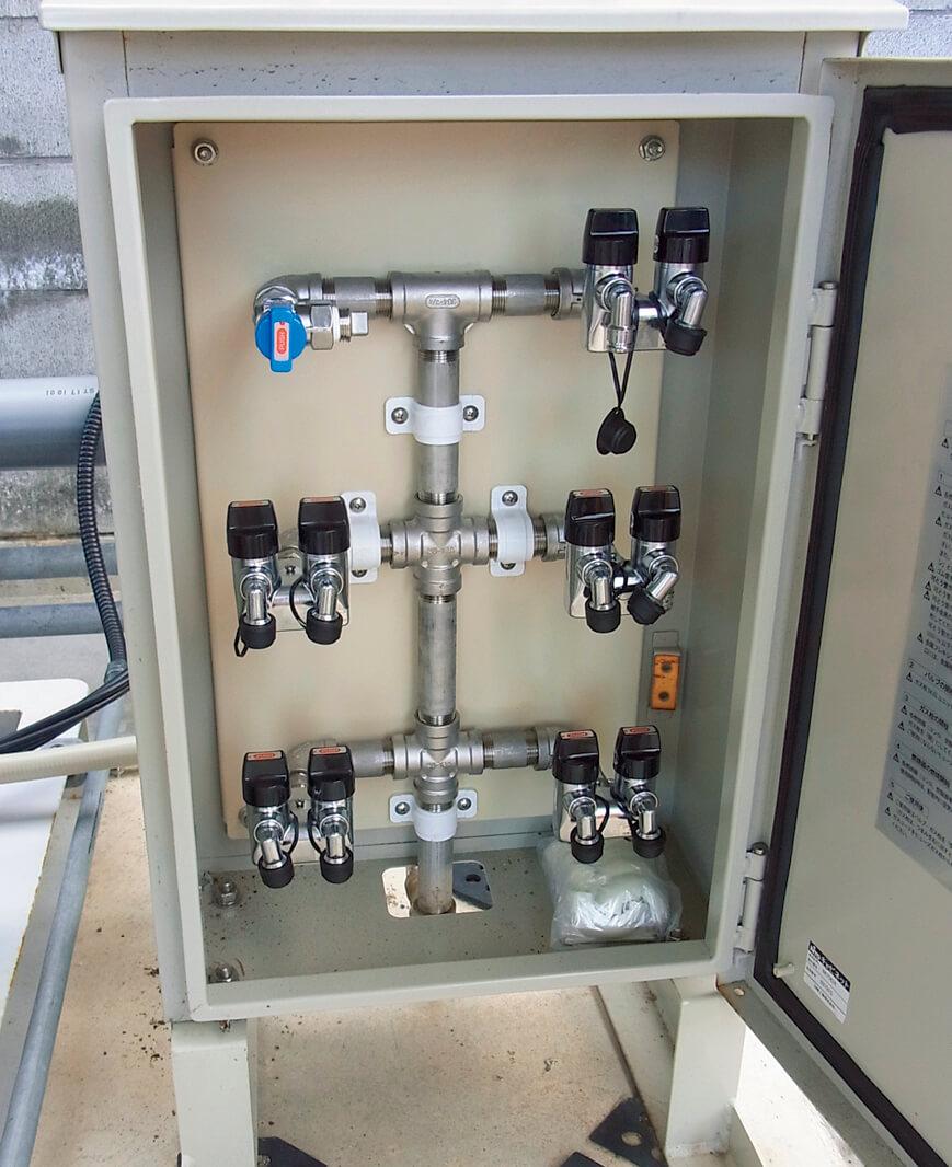 敷地内にあるLPガススタンドは、車約20台分のLPガスが供給可能。災害時にはガスコンロも使える