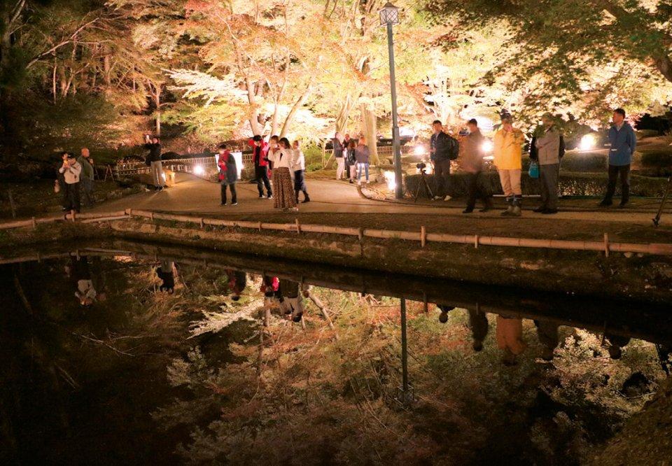 参加者はライトアップされた公園で「逆さもみじ」を鑑賞した