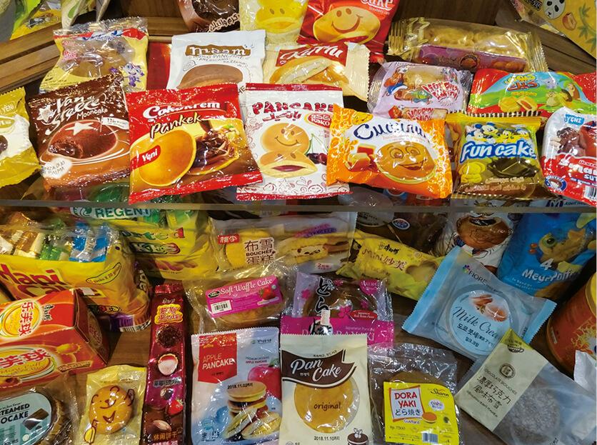 海外メーカーがマスダックの菓子製造機でつくっている製品の数々