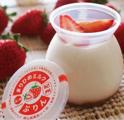 紀州まりひめのイチゴソース入りミルクプリン