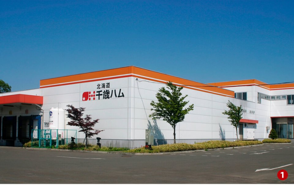 工場(❶)で全工程に作業員が関わってつくった(❷)ウインナー、ソーセージ(❸)などを工場直営売店(❹)で販売する北海道千歳ハム