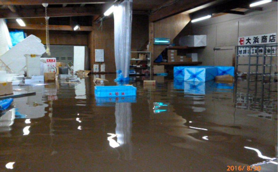 2016年夏の台風10号による大雨で工場は大きな被害に
