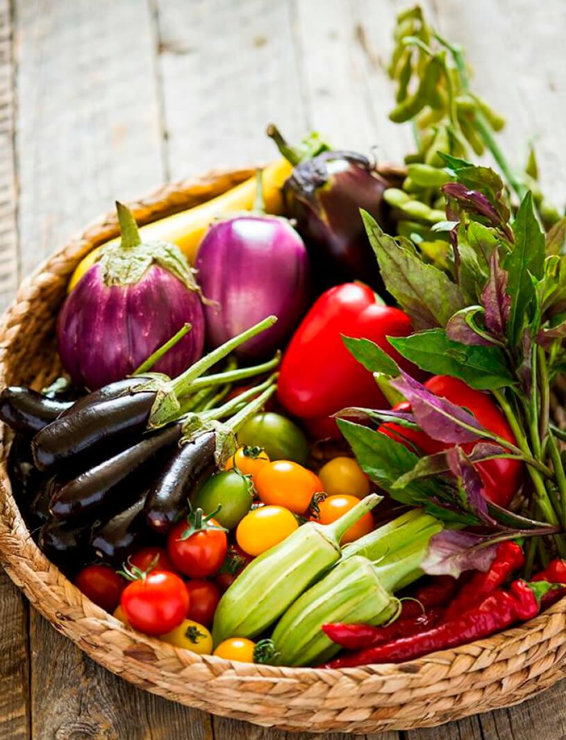 西洋ナスやオクラの品種であるスターオブデイビッドなど、珍しい野菜を使っている