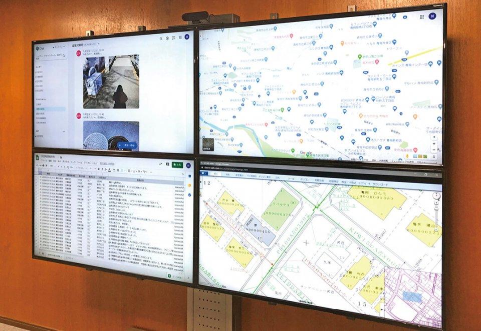 社内の災害対策本部ではGoogleチャットやマップなどを活用して災害発生に備えている