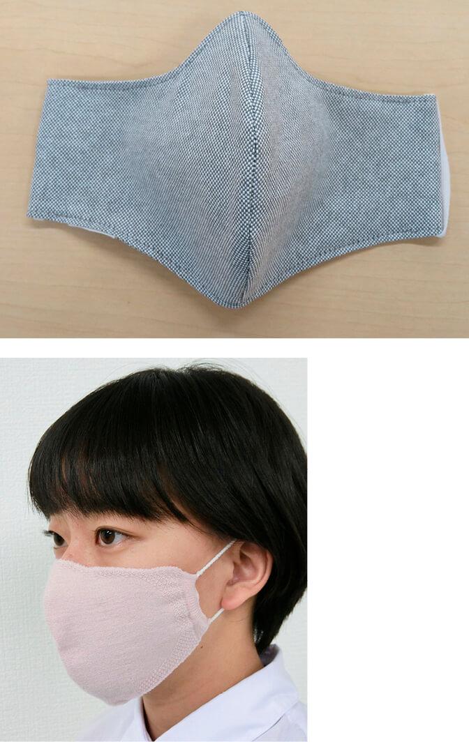 天然の抗菌・防臭効果のあるクマザサの和紙を使ったマスク(上)とニットメーカーがつくった洗濯機で洗える立体マスク(下)