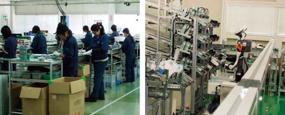 ロボット導入事例。A社の生産ラインは10人で作業をしていた(左)が、ピッキング工程にヒト型協働双腕ロボットを導入することで人員を減らすことができた