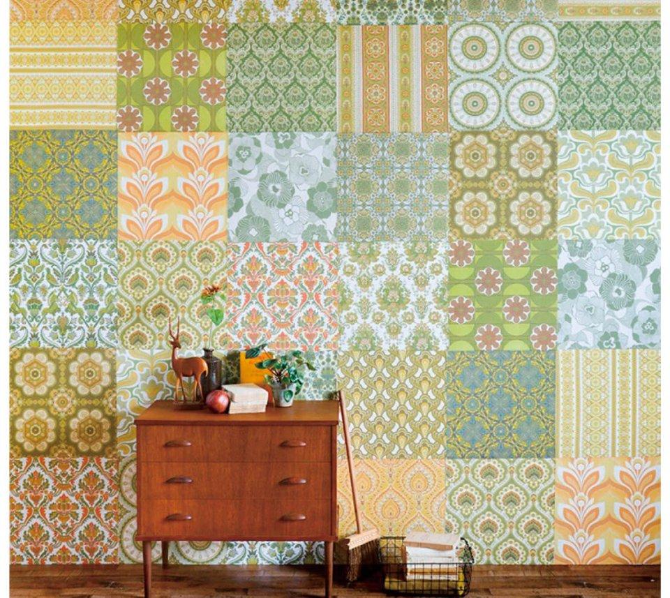 10種類ある「Hattan Vintage(ハッタンヴィンテージ)」に使われている柄は、デッドストックの輸入壁紙のデザインを新素材で復刻したもの。パッチワークのように並べて貼るだけで、部屋を一気にイメージチェンジできる。6枚1セット3960円(税込)