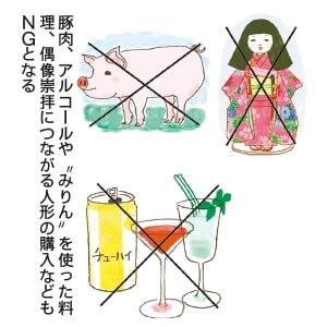 豚肉、アルコールや〝みりん〟を使った料理、偶像崇拝につながる人形の購入などもNGとなる