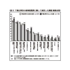 (図3)下請比率別の新事業展開に際して直面した課題(複数回答)