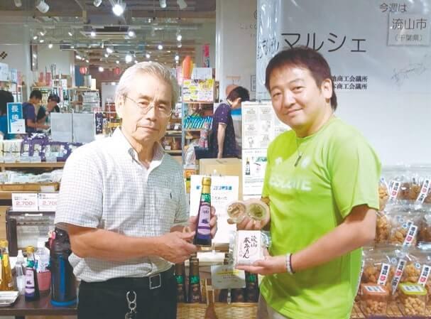 かごや商店の金子巌さん(右)、髙島醸造の髙島和雄さん(左)