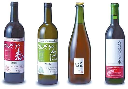 バラ酵母菌を活用した赤ワイン(左)ほか開発したワイン4種類