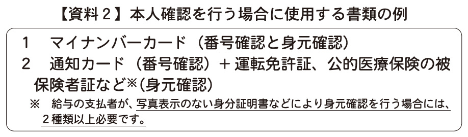 【資料2】本人確認を行う場合に使用する書類の例
