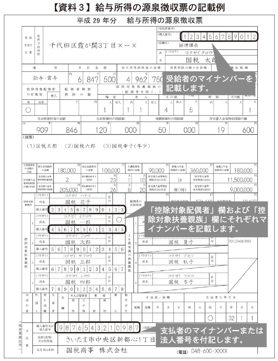 【資料3】給与所得の源泉徴収票の記載例