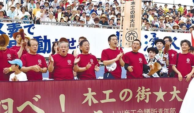市長・会頭(中央右・左)も応援した