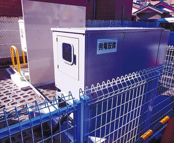 会議所駐車場に設置された「ガス電くん」